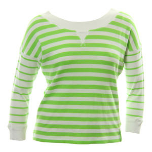 X-Large Green & White Striped Long Sleeve Shirt